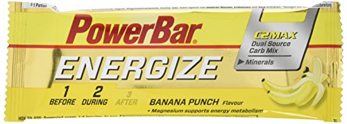 PowerBar Energieriegel Energize mit Magnesium und Natrium – Fitness-Riegel, Kohlenhydrate Riegel mit Hafer, Früchten und Maltodextrin bei erhöhtem Energiebedarf – 25 x 55 g Banana Punch