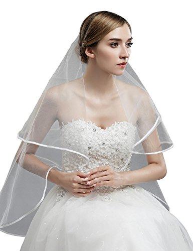 Sarahbridal Lange Feintüll Brautschleier Satinkante Hochzeit Schleier SN11002 Ohne Kamm Elfenbein