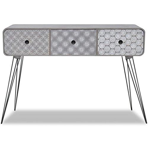 tidyard Konsolentisch Konsole Beistelltisch Ablagetisch mit 3 Schubladen, in Modernem, aus MDF & Stahl, 99 x 35,5 x 70 cm (L x B x H), Grau/Braun Optional -