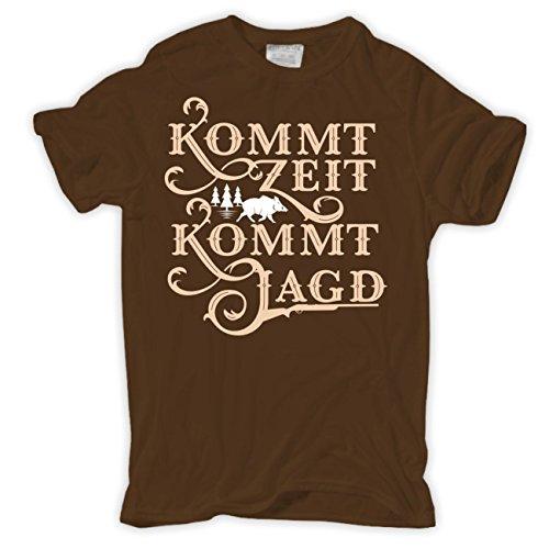 Männer und Herren T-Shirt Kommt Zeit kommt Jagd (mit Rückendruck) Braun