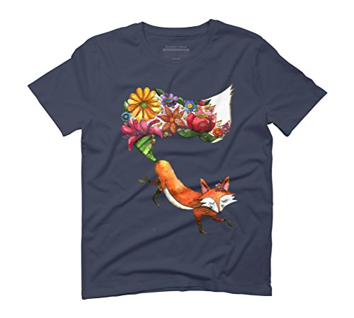 Miss Foxy Flowers Men's Graphic T-Shirt - Design By Humans Navy