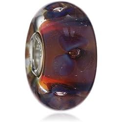 Trollbeads Damen-Bead 925 Sterling Silber Glas mehrfarbig TGLBE-10173