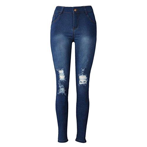 YunYoud Damen Lange Hose Frau Denim Röhrenjeans Frauen Strecken Bleistift Hosen Slim Fit zerrissene Jeans Mode Biker Jeans Beiläufig Boyfriend Jeans (L, Blau) (Cordhose Denim)