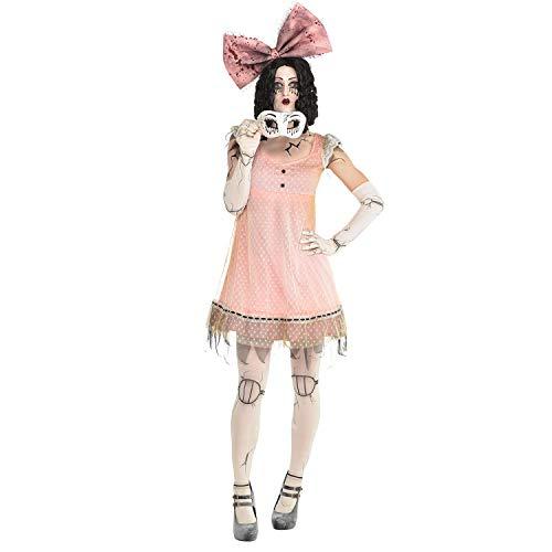 Puppe Kostüm Strumpfhosen - amscan Gruselige Puppe Halloween Kostüm Inklusive Strumpfhose Handschuhe, Stirnband und Halbmaske für Frauen 10 - 12