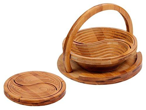Alsino cestino | pieghevole | multiuso | 26,5 x 19 cm | con maniglia a forma di yin yang | in legno di bamb? | per spuntini | antipasti | picnic | salvaspazio | design, ok-16 yin yang