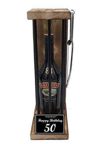 * Happy Birthday 50 Geburtstag - Die Eiserne Reserve ® Black Edition mit Baileys 0,70L mit Säge zum zersägen der Stäbe - Die ausgefallene originelle lustige witzige besondere Geschenkidee (Lehrer Happy Birthday)