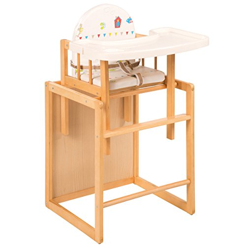 Kombihochstuhl Waldhochzeit Gurtsystem und Essbrett Holz natur • Kombi Hochstuhl Baby Kinder Tisch Stuhl Sitz Polster