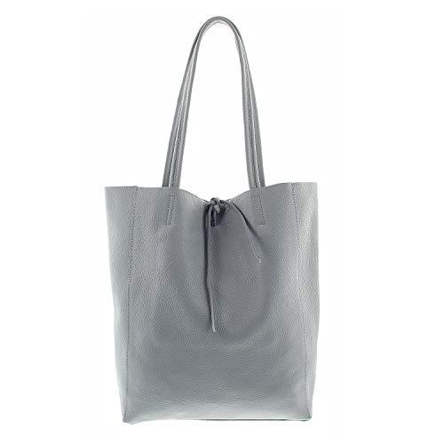 IO.IO.MIO echt Leder Frauen Schultertasche Handtasche Henkeltasche Shopper Damen groß hellgrau