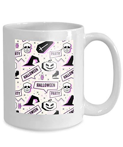 Kaffeetasse Tee Cupcreepy trendy Halloween Memphis geometrischen Stil Kürbis Schädel Spinnennetz Horror Krähe Mode kleine 110z (Billig Halloween Becher Kaffee)