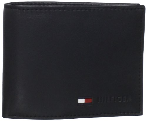 Tommy Hilfiger Mens Leather Billfold Coin Wallet, Black