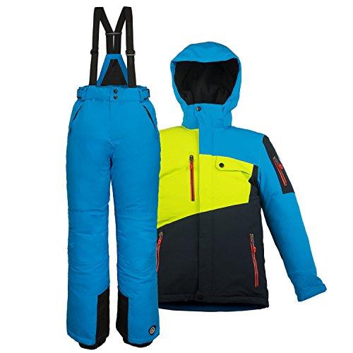 Killtec Kinder Skianzug Größe 140 Schneeanzug 2 tlg. Skijacke + Skihose - Lime Dunkelnavy Blau - winddicht wasserdicht