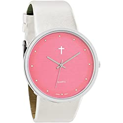 Belief Women's | Funky Minimalist Large Baby Pink Face Pearly White Band Watch with Cross Logo | BF9658WT
