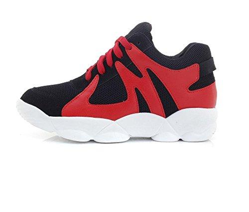 Femmes Chaussures Air rond cuir imperméable à l'eau dentelle Chaussures sneakers respirant chaussures de course Red
