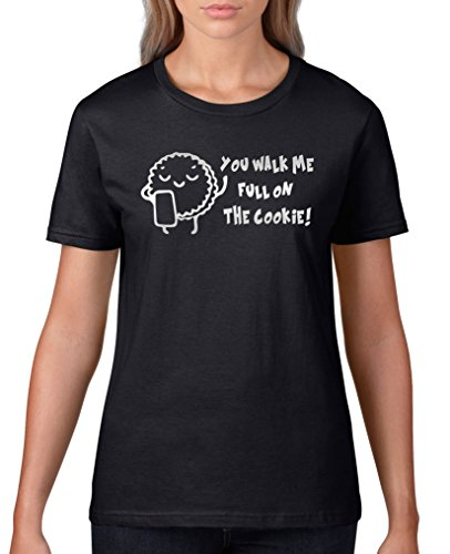 Comedy-Shirts You Walk me Full on The Cookie! Keks - Damen T-Shirt - Schwarz/Silber Gr. XXL (Cookie-gelb T-shirt)
