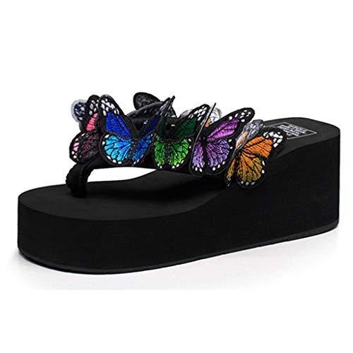 56f1afb1 Sandalias para Mujer Zapatos de Playa Acolchados Zapatilla de cuña de Flor  Mariposa Sandalias de Punta