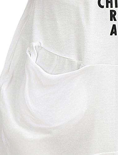 Allegra K Damen Träger Buchstaben Überdimensional Tunika Weiß