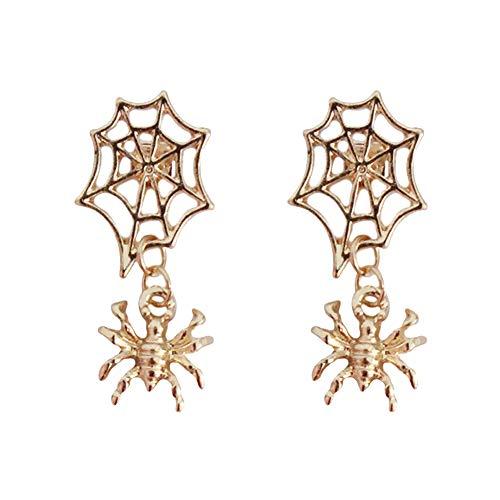 Web Kostüm Spider - nowbetter Halloween Ohrstecker Persönlichkeit Spider Web Form Ohrringe Masquerade Ball Karneval Kostüm Party Supplies Jewelry Accessories Geschenke für Mädchen Frauen, gold, 3.3 * 2.8cm