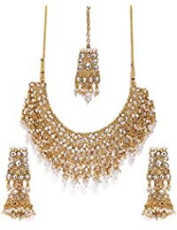 Zaveri Pearls Gold Tone Kundan & Pearls Bridal Choker Necklace Set For Women-ZPFK8454