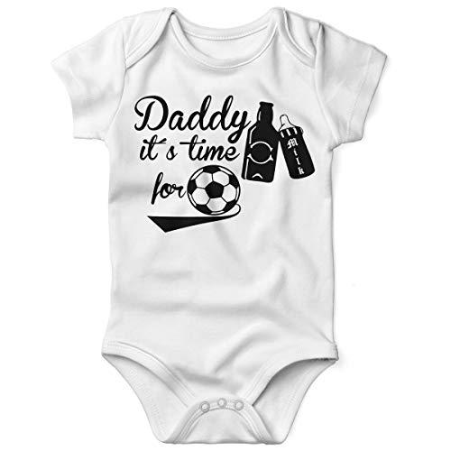Mikalino Babybody mit Spruch für Jungen Mädchen Unisex Kurzarm Daddy its time for Football | handbedruckt in Deutschland | Handmade with Love, Grösse:62, Farbe:Weiss-schwarz
