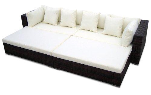 Gartenmöbel Polyrattan Lounge 'PARIS' 280 x 165 cm | 9cm Polster (Braun)
