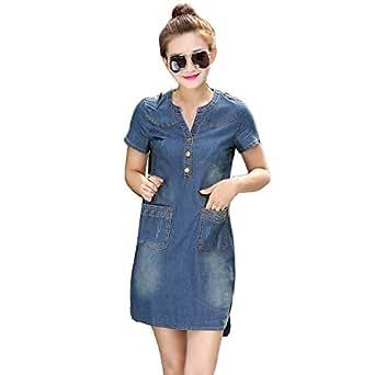 aa07b18d34ec64 Bild nicht verfügbar. Keine Abbildung vorhanden für. Farbe: SHOBDW Damen  Sommer Herbst Stilvoll College Stil Denim Minikleid Frauen Jeans Kleid ...