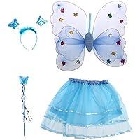 BESTOYARD Disfraz de hadas mariposa Alas de Mariposa Varita Mágica Diadema y Falda tutú 4 piezas (Azul)