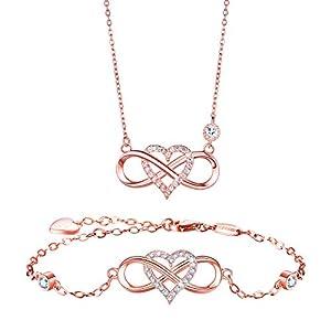 BlingGem Damen Schmuck-Set aus Rosegold vergoldet 925 Sterling Silber Zirkonia Infinity Unendlichkeit Herz Ketten und Armband Geschenk zum Muttertag