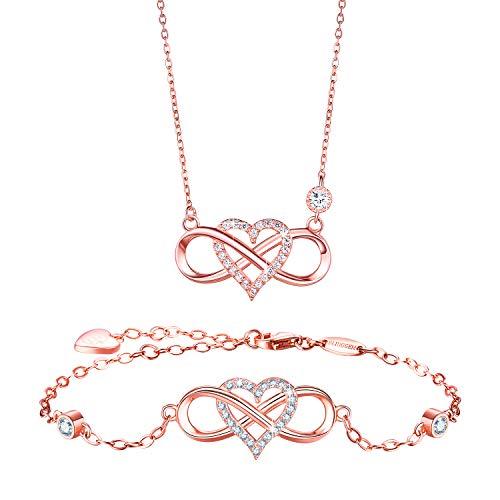 BlingGem Damen Schmuck-Set aus Rosegold vergoldet 925 Sterling Silber mit Rundschliff Zirkonia Infinity Unendlichkeit Herz Ketten und Armband