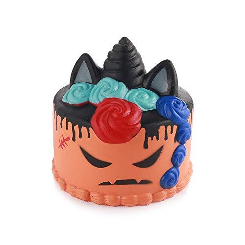 loween Einhorn Torte Allerheiligen Kuchen Steigend Quetschen Spielzeug Tiere Slow Rising Antistress Squishies Spielzeug Geschenk für Kinder Erwachsene Orange(11*11*11cm,1 Stück) ()