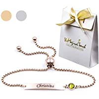 TMT® Personalised birthstone bracelets gift for ♥ Birthday ♥ Friendship ♥ Mum Auntie Sister ♥ 18th 21th 30th 40th 50th 60th 16th 13th her women girl best friend