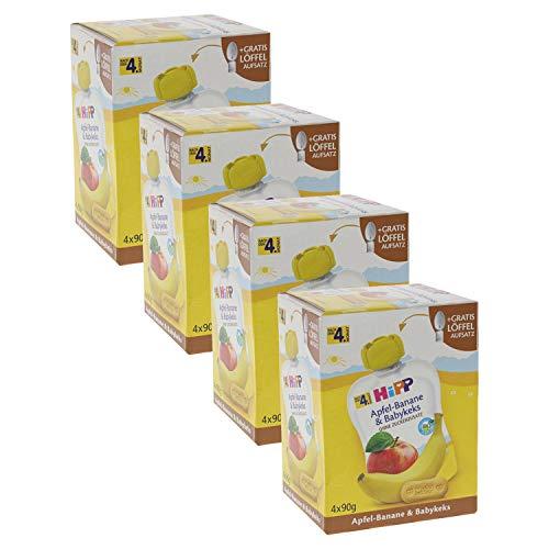 HiPP Quetschbeutel für Babys, Frucht und Getreide, Apfel-Banane mit Babykeks, 100{936a1b77d1ef2c6c68405d8b9e6d0cf8ad8029c699f1de0d9f5e3dd763430f8c} Bio-Früchte ohne Zuckerzusatz, 4 x 4 Beutel à 90 g