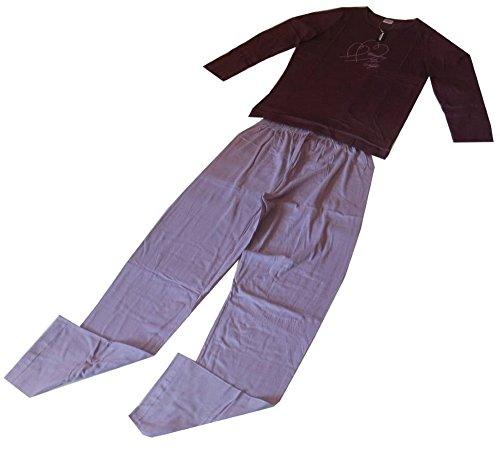Merango Damen Schlafanzug Pyjama 2-Teiler Lang in 6 Farben S bis XL Mintgrün