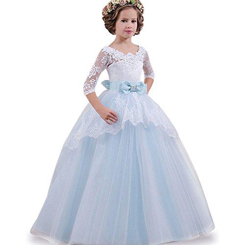 LZH Maedchen Prinzessin Kleid Hochzeits Festzug Party Spitze -