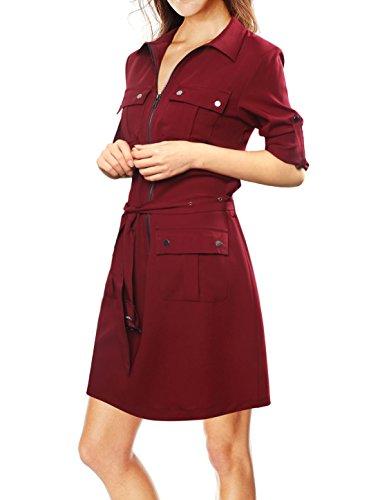 Allegra K Damen Ärmel zum Hochkrempeln Multi-Taschen Oberteil Mit Gürtel Kleid Rot