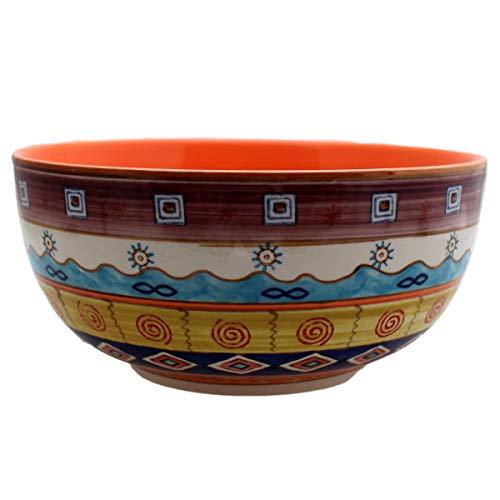 Gall&Zick Saladier en céramique Peinte à la Main Multicolore, Orange, Grand modèle