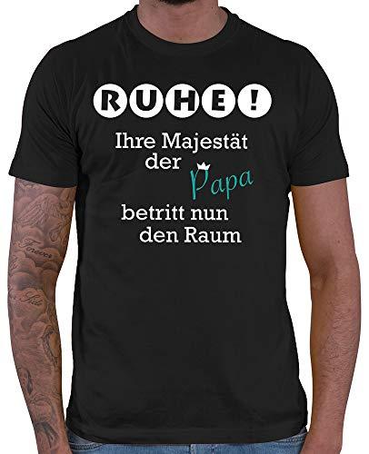 HARIZ  Herren T-Shirt Ruhe ihre Majestät der Papa betritt den Raum Männer Geschenk Baby Weihnachten Plus Geschenkkarte Schwarz L