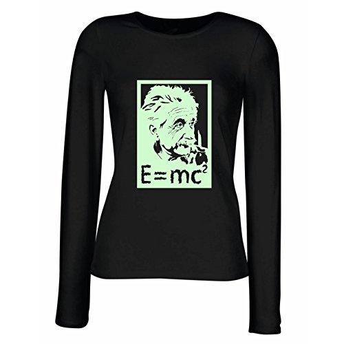 lepni.me Weibliche Langen Ärmeln T-Shirt Physikwissenschaftler Albert Einstein, Geschenk für Wissenschaftsliebhaber (X-Large Schwarz Fluoreszierend)
