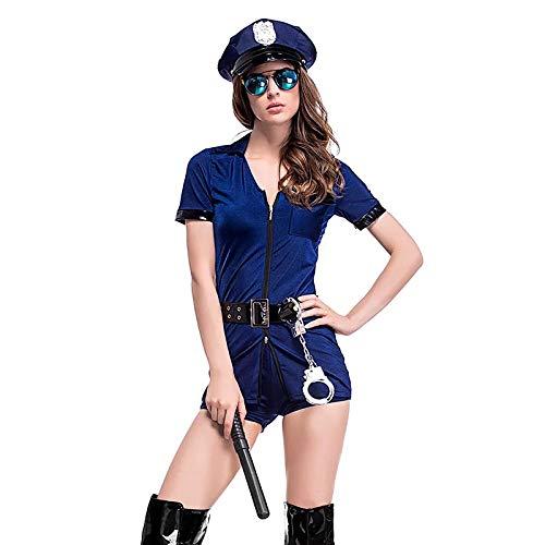 thematys Sexy Polizistin Kostüm Polizist 5-teilig Kostüm-Set für Damen - Mütze, Sonnenbrille, Stock, Handschellen & Kleid perfekt für Fasching, Karneval & Cosplay - Einheitsgröße 160-175cm -