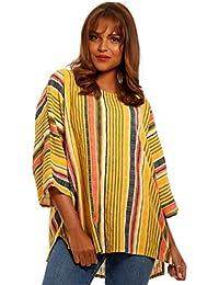 c9534a17513 Damen Baumwolle Longshirt Big Size Oberteil mit Streifen Tunika Sommer  Große Größen Mode Shirt Loose Fit
