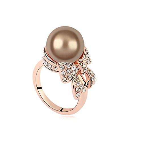 KnSam Damen Ring Vergoldet Bandring Vergoldet Bogen Perle mit Zirkonia Größe 53 (16.9) bis 57 (18.1) 6