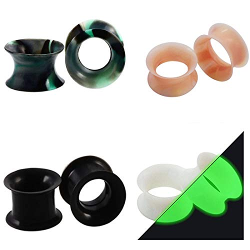 Huacan 8 Piezas Dilataciones Orejas de Silicona Pung-- 4 Piezas Ligero+ 2 Piezas Luminoso y 2 Borde Grueso Expansor de Túnel Hombre Mujer 14mm