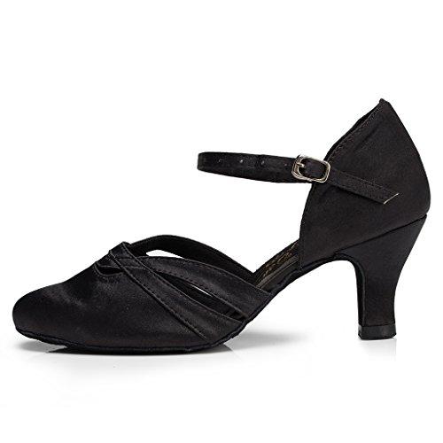 Minitoo femme à talon bas Chaussures de danse Satin latine Noir - noir