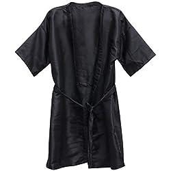Beaupretty Salon Cliente Vestido SPA Hotel Bata de baño Mujeres Hombres Kimono Toga Peluquería (Negro) 3Pcs