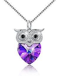 66f787e86199 Collar de búho con corazón de plata de ley 925