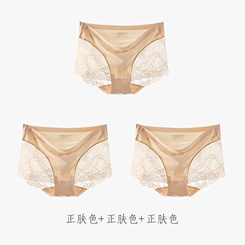 YMFIE Cintura sottile trasparente morbida seta sexy Mutandine in pizzo MS slip di cotone 3 stealth I