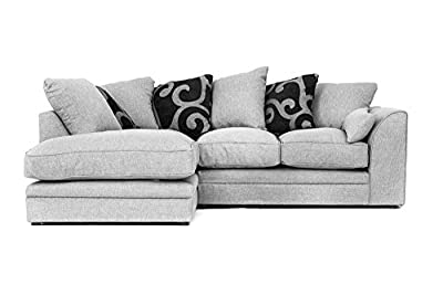 Darcy Corner Sofa with Footstool, Armchair, 2 or 3 Seater in Grey Fabric by Abakus Direct
