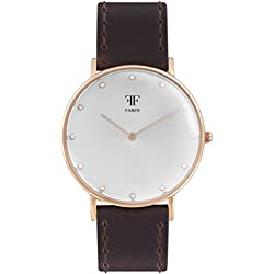 Faber Ladies Watch - Dark Brown Leather Strap, Stainless Steel Gold, Sapphire Crystal, Analog Quart - F313RG