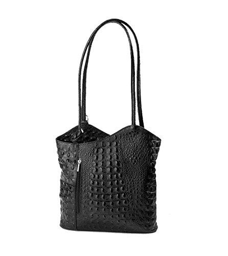 ital elegante Leder Schultertasche Rucksack 2in1 Handtasche schwarz kroko -