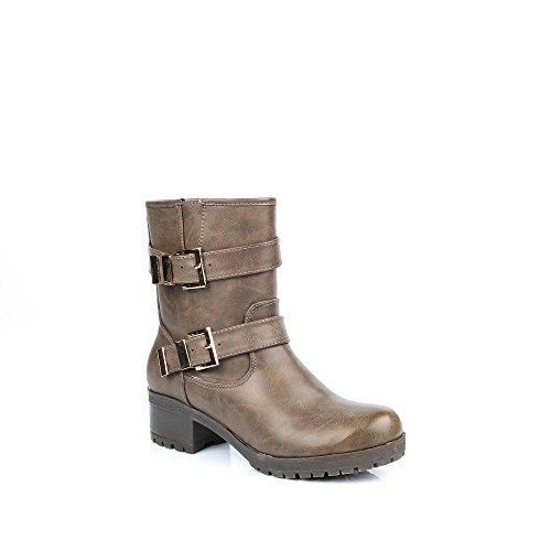 Ideal-Shoes Stiefel Biker-Optik mit Galatee koppeln Grau - grau