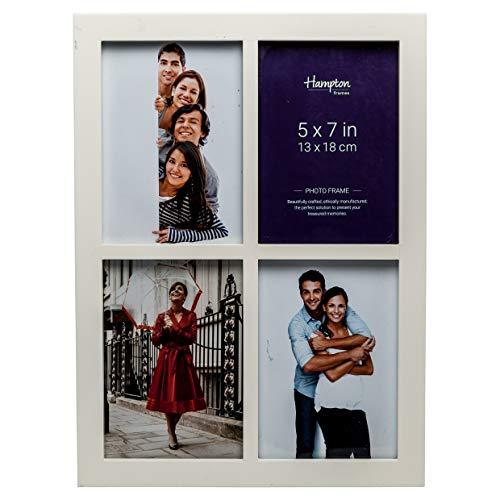 Hampton Frames gal457wht Galerie weiß 4Blende 5x 7(13x 18cm) Multi Foto MDF Bilderrahmen Display Rahmen mit 22mm breitem Profil und 10mm breit zwischen Profile. (Weiß 5x7 Bilderrahmen)